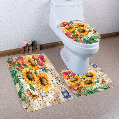 Buy COLORFUL Sunflowers Pattern 3Pcs Bath Toilet Mat Set for $15.14 in GearBest store