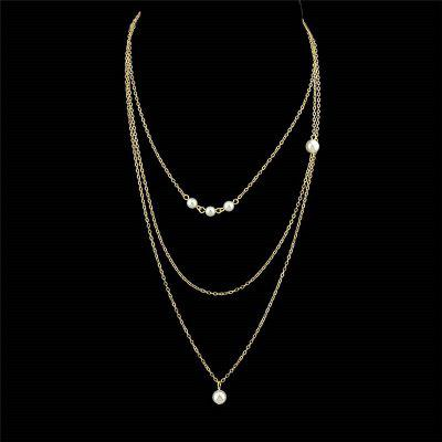Faux Pearl Layered Chain Pendant Necklace