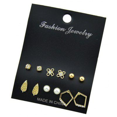 Faux Pearl Leaf Geometric Stud Earring Set