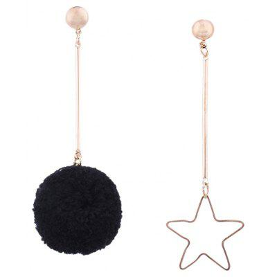 Asymmetric Fuzzy Ball Star Earrings