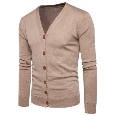 Buy KHAKI M V Neck Knitting Button Up Cardigan for $20.92 in GearBest store