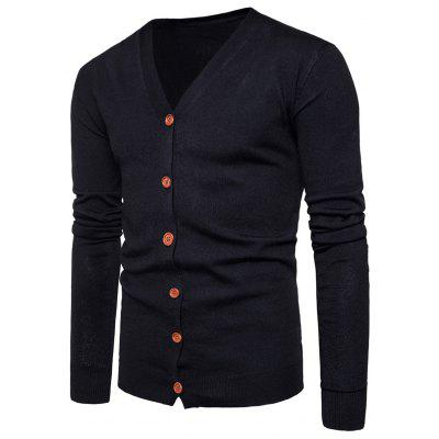 Buy BLACK L V Neck Knitting Button Up Cardigan for $20.92 in GearBest store