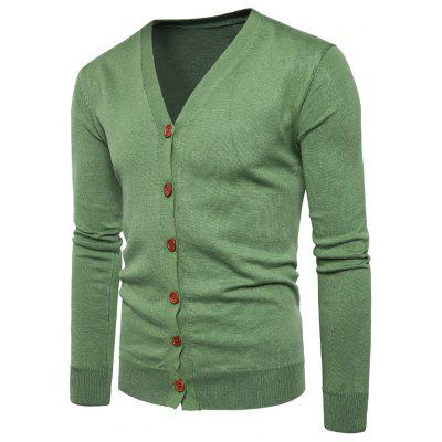 Buy GREEN L V Neck Knitting Button Up Cardigan for $20.92 in GearBest store