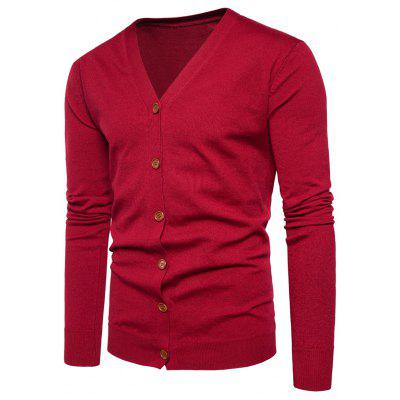 Buy RED 2XL V Neck Knitting Button Up Cardigan for $20.92 in GearBest store