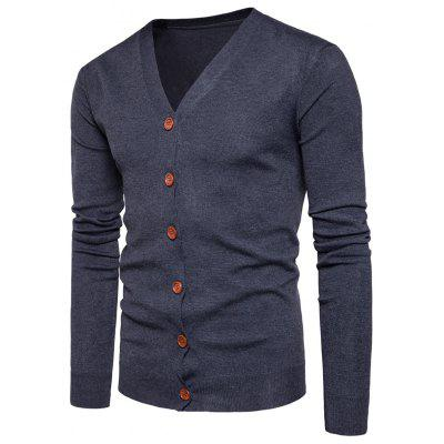 Buy DEEP GRAY L V Neck Knitting Button Up Cardigan for $20.92 in GearBest store