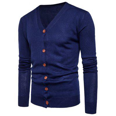 Buy CADETBLUE XL V Neck Knitting Button Up Cardigan for $20.92 in GearBest store