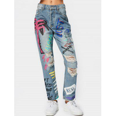 Buy DENIM BLUE XL Letter Graphic Destroyed Tapered Jeans for $37.59 in GearBest store