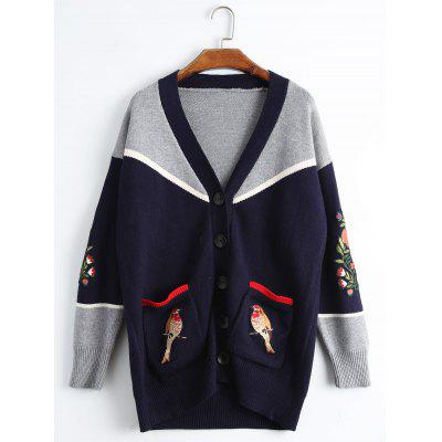 Buy PURPLISH BLUE Plus Size Bird Embroidered Drop Shoulder Cardigan for $37.46 in GearBest store