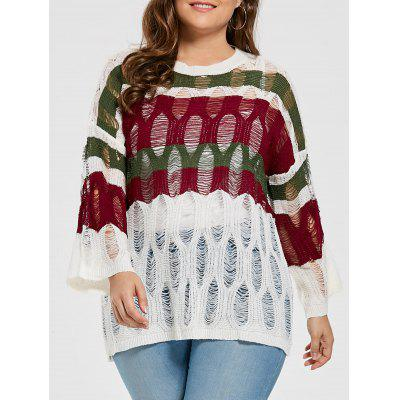 See Through Stripe Ripped Plus Size Sweater