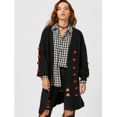 Lantern Sleeve Button Embellished Slit Cardigan
