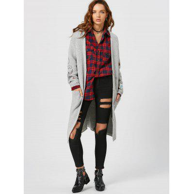 Button Up Patchwork Cardigan with Pockets