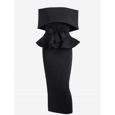Ruffles Belted Top with Slit Skirt Set