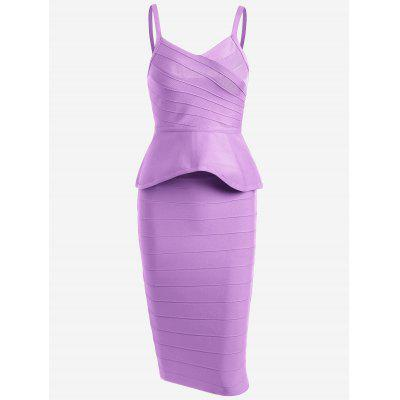 Buy PURPLE L Flounce Cami Top with Bandage Skirt Set for $48.45 in GearBest store