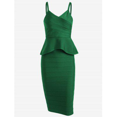 Buy GREEN M Flounce Cami Top with Bandage Skirt Set for $48.45 in GearBest store