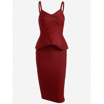 Buy RED S Flounce Cami Top with Bandage Skirt Set for $48.45 in GearBest store