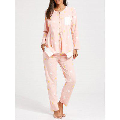 Buy LIGHT PINK L Floral Button Up Nursing Loungewear Set for $38.32 in GearBest store