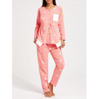 Buy PINK L Floral Button Up Nursing Loungewear Set for $38.32 in GearBest store