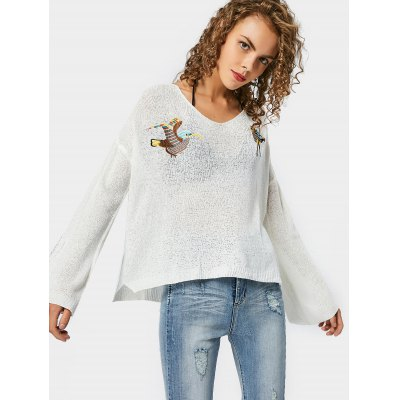Buy WHITE Bird Embroidered Side Slit Loose Sweater for $22.21 in GearBest store