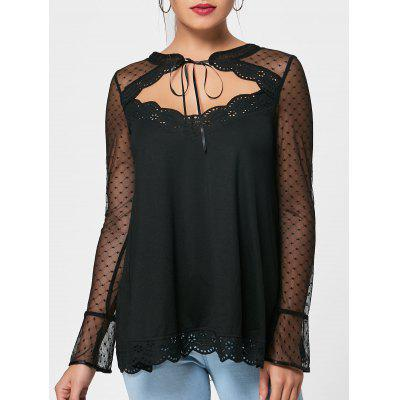 Buy BLACK 2XL Mesh Insert Sheer Cut Out Blouse for $20.84 in GearBest store