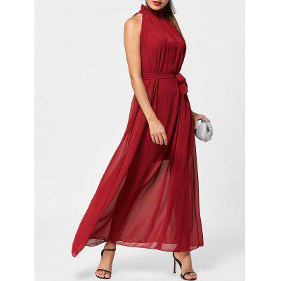 Buy WINE RED Ruff Collar Maxi Chiffon Prom Dress for $25.52 in GearBest store