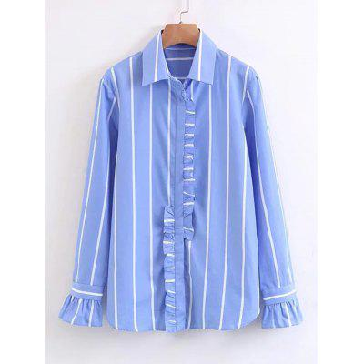 Buy STRIPE L Stripes Ruffles Button Down Shirt for $23.76 in GearBest store