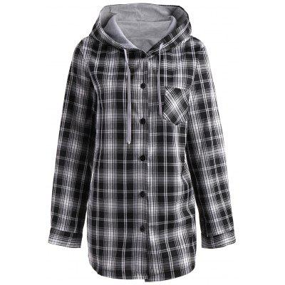 Plaid Plus Size Button Up Hooded Coat