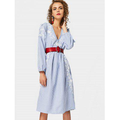 Embroidered Stripes Shift Long Sleeve Dress