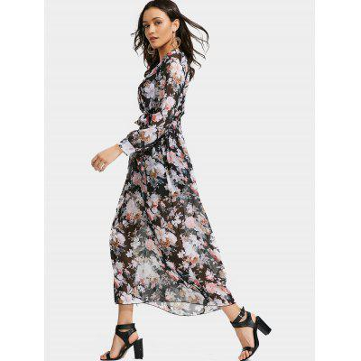 Floral Print Plunging Neck Belted DressWomens Dresses<br>Floral Print Plunging Neck Belted Dress<br><br>Dresses Length: Ankle-Length<br>Material: Polyester<br>Neckline: Plunging Neck<br>Occasion: Beach, Going Out<br>Package Contents: 1 x Dress  1 x Belt<br>Pattern Type: Floral<br>Season: Spring, Fall<br>Silhouette: Beach<br>Sleeve Length: Long Sleeves<br>Style: Brief<br>Weight: 0.3100kg<br>With Belt: Yes