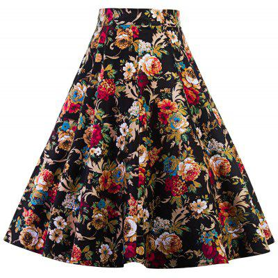 High Waist Floral Print Midi Pleated Skirt