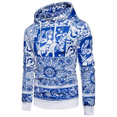 Hooded Blue and White Porcelain Print Hoodie