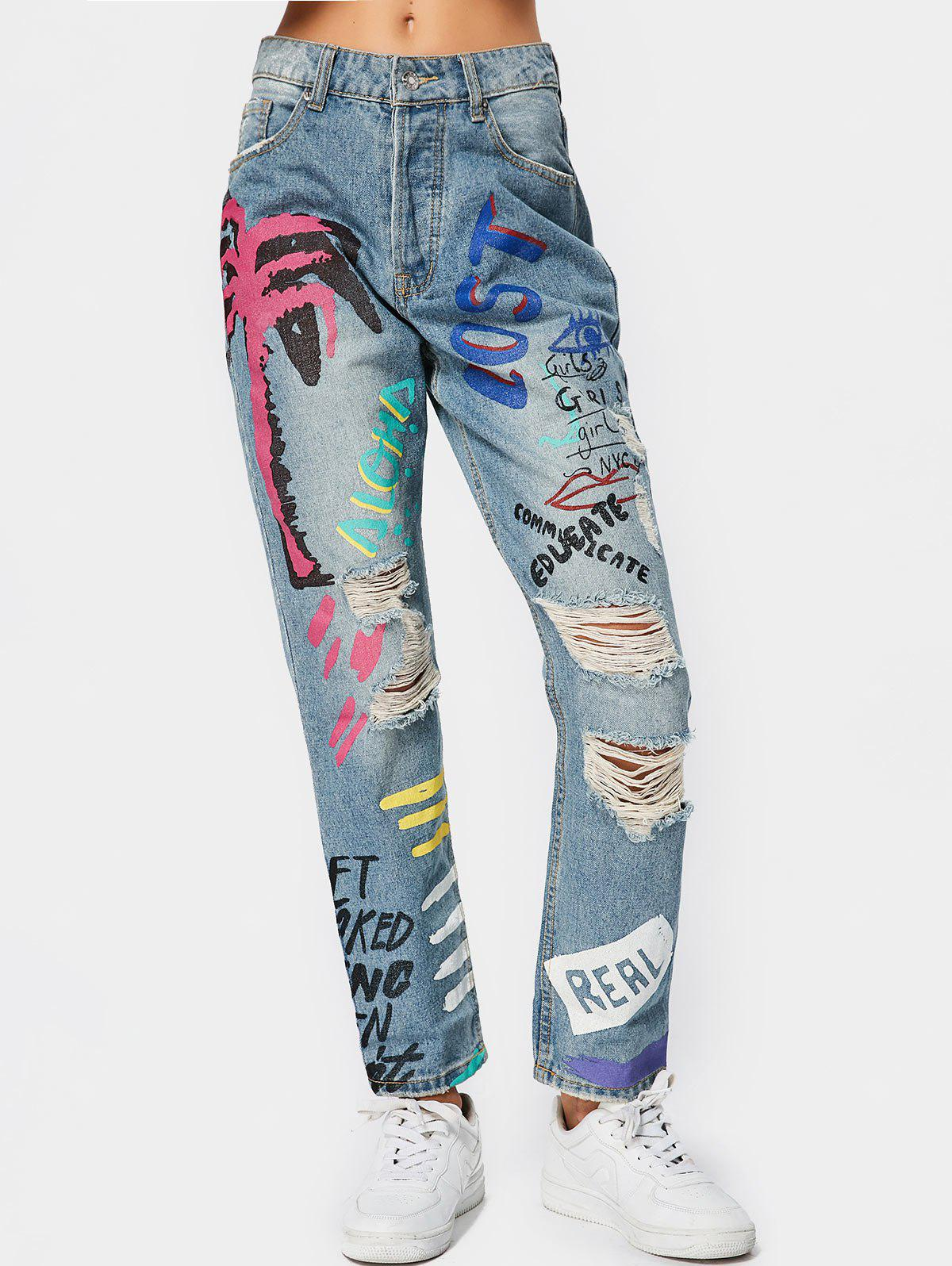 DENIM BLUE S Letter Graphic Destroyed Tapered Jeans