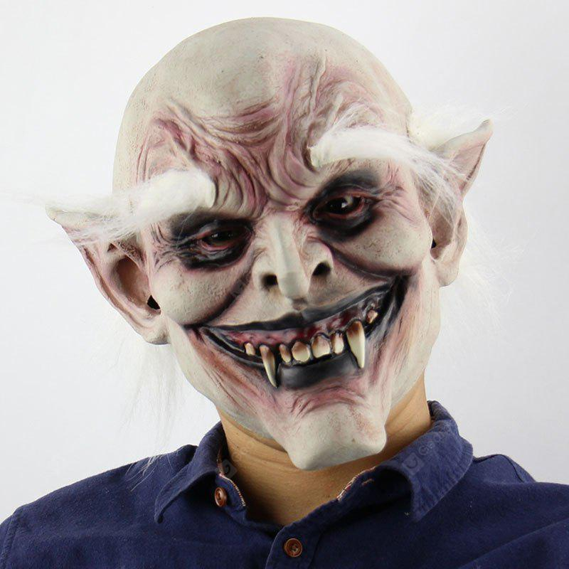 Halloween White Brow Monster Printed Mask With Wig