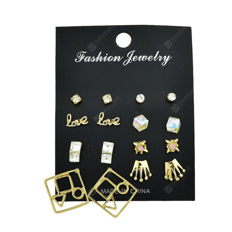 Rhinestone Love Crown Stud Earring Set