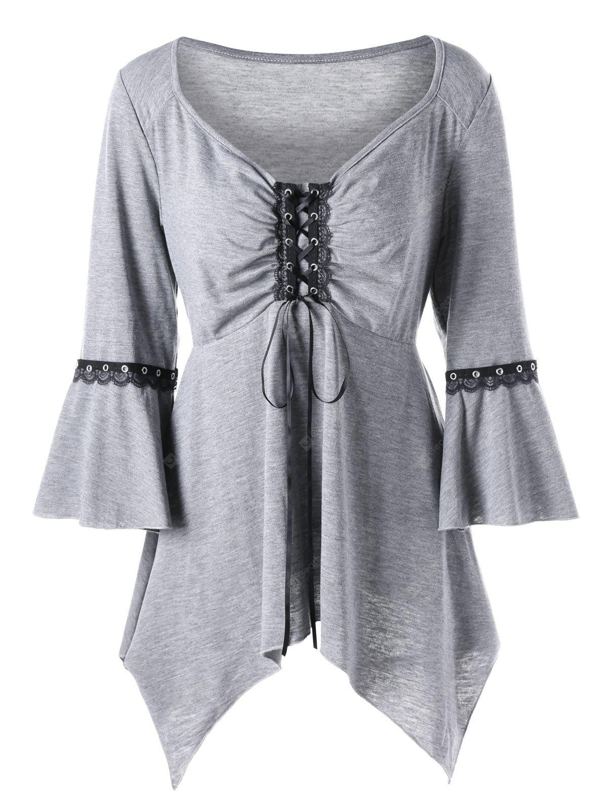 Plus Size Flare Sleeve Lace Up Top