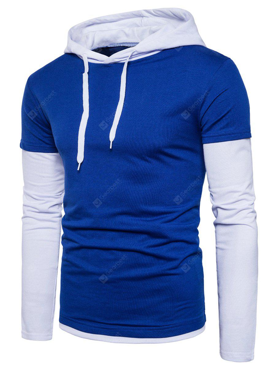 Hooded Color Block Panel Faux Twinset Hoodie