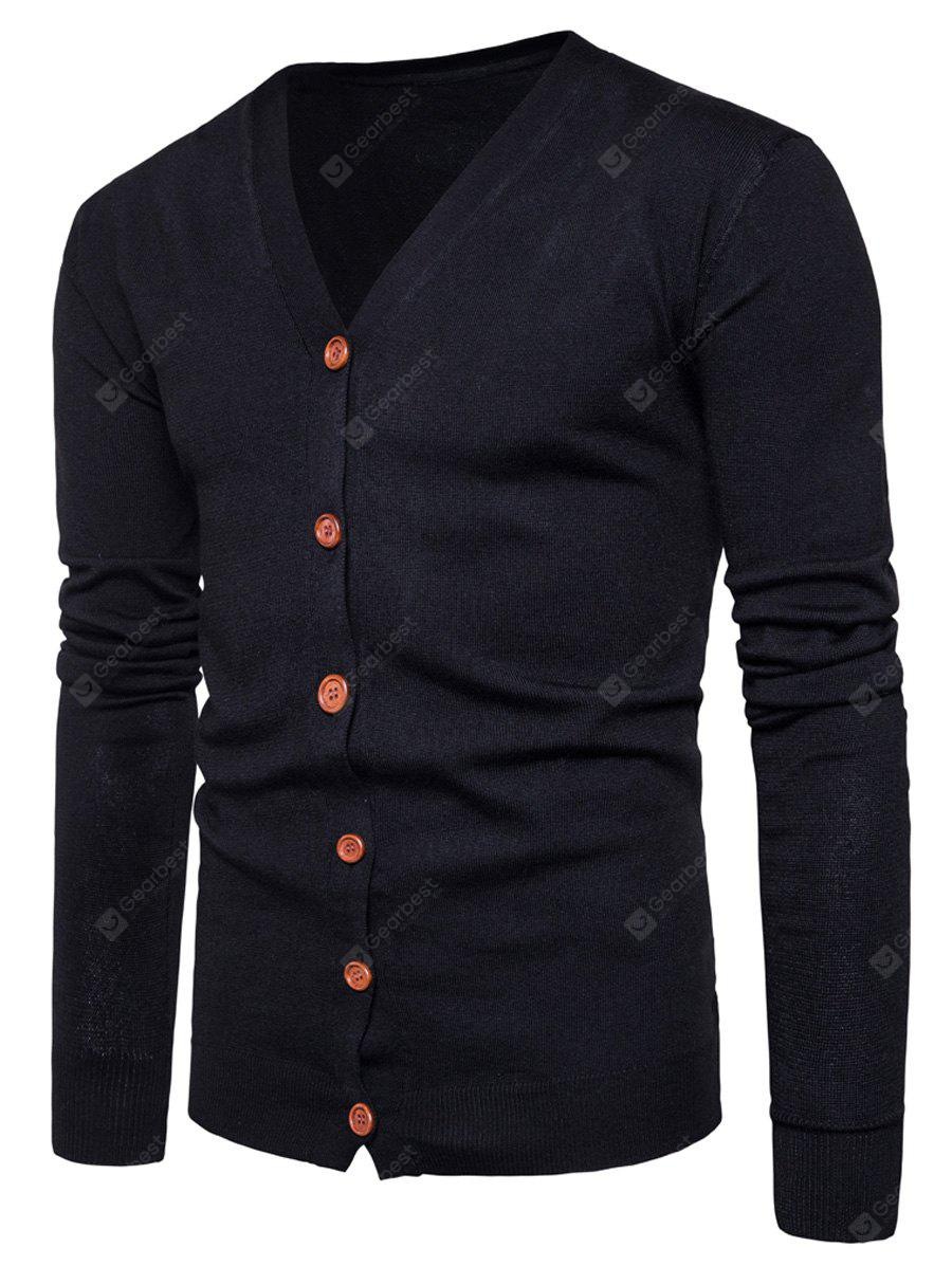 BLACK XL V Neck Knitting Button Up Cardigan