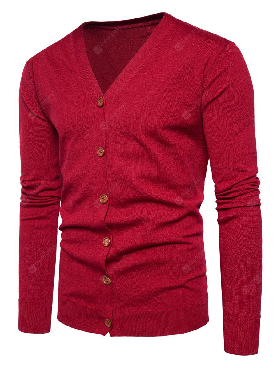 RED 2XL V Neck Knitting Button Up Cardigan