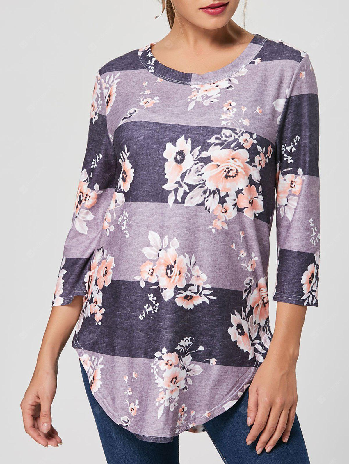 Floral Striped Print Casual Long Tee