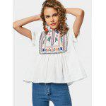 Embroidered Tassels Curled Sleeve Blouse - WHITE