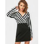 Stripes Panel Long Sleeve Bodycon Mini Dress - WHITE AND BLACK