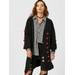 Lantern Sleeve Button Embellished Slit Cardigan - BLACK