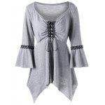 Plus Size Flare Sleeve Lace Up Top - LIGHT GRAY