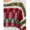 See Through Stripe Ripped Plus Size Sweater - WINE RED