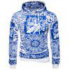 Hooded Blue and White Porcelain Print Hoodie - BLUE
