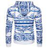 Chinoiserie Hooded Florals Print Hoodie - BLUE