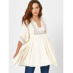 Patterned Notched Collar Mini Dress - BEIGE