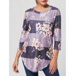 Floral Striped Print Casual Long Tee - GRAY