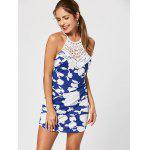 Floral Print Backless Criss Cross Mini Dress - BLUE AND WHITE
