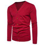 V Neck Knitting Button Up Cardigan - RED
