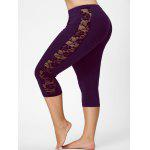 Lace Mesh Panel Plus Size Capri Leggings - DEEP PURPLE